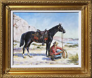 Tracking Stolen Horses 30 Off American Old West O/c By Irek T. Szelag