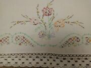Vintage White Hand Embroidered Seat Sofa Chair Back Cloth 1920s 1930s