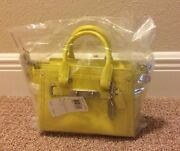 Nwt Coach Swagger 20 In Pebble Leather 35798 Rare Limited Production Acid Lemon