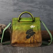 Women's Leather Handbags Personality First Layer Lotus Shoulder Messenger Bags