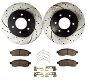 Fits 2006 2007 2008 Lincoln Mark Lt Front Drilled Brake Rotors And Ceramic Pads