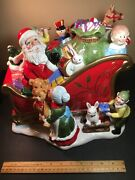 Fitz And Floyd Collectors Corner Santa's Sleigh Cookie Jar Extremely Rare 2005