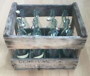 Vintage Old 1900and039s Belgium 12 Dozen Green Glass Wood Crate Wine Water Dairy Rare