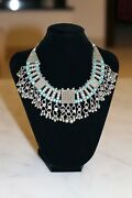 Antique Yemenite Filigree Silver Necklace With Turquoise Beads Islamic Bridal