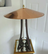 Large Arts And Crafts Style Iron Table Lamp Black Finish With Copper Shade