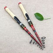 Telescopic Lure Rod Carbon Fishing Spinning Rods Wooden Handle Travel Tackle
