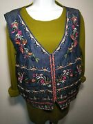 Reba Womenand039s Country Festival Xl Multi-color Light Denim Floral Lined Vest Nwt