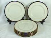 Lenox L325b For J. E. Caldwell And Co 10 Dinner Plates Cobalt Blue Gold Encrusted