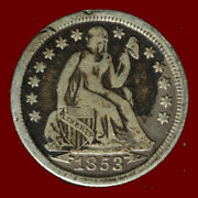 1853-p Seated Liberty 90 Silver Dime Ships Free. Buy 5 For 2 Off