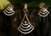 1.50ct Natural Round Diamond 14k Solid Rose Gold Pendant With Stud Earrings