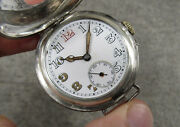 Rare Antique Vintage Solid Silver 925 Officers Ww1 Military Watch