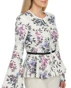 Bagatelle Floral Print Perforated Faux Leather Jacket