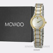 Authentic Movado Two Tone Stainless Steel Womenand039s Sprita Mop Dial Watch 0604688
