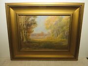 16x22 Org. 1922 Oil Painting On Canvas By Franz Strahalm Of Autumn Landscape