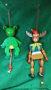 Vintage Wooden Reindeer And Frog Jumping-jack Marionettes Puppets Decorations