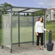 New Shelter Flat Roof 3-side Open Front With Black 5 Gallon Outdoor Ashtray