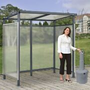 New Shelter Flat Roof 3-side Open Front With Gray 5 Gallon Outdoor Ashtray