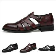 Sandals Shoes Men Real Leather Trail Comfort Pointy Toe Hollow Out Casuals New