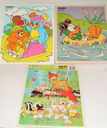 Vtg Puzzle Lot Playskool Plucky Duck 90's Popples 80's Wood Puzzle + Bambi