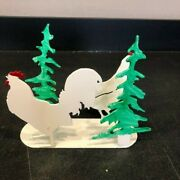 Chicken And Rooster Napkin Holder Or Letter Holder, Strong Metal High Quilty
