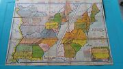 1939 Map Of State Claims A9 - Vintage Denoyer-geppert - Large Size