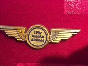 Vintage Alaska Airlines Pilot Wings Plastic Promo Advertising 1980s Usa Made Ny