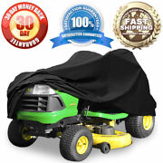 Black Riding Lawn Mower Cover Garden Tractor Fabric Weather Resist For 62 Decks