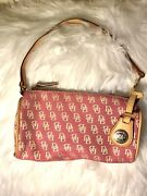 Nwot Dooney And Bourke Small Barrel Canvas And Leather Bag Pink Db Logo 198 Value