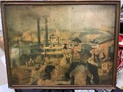 Vintage Rare Cookand039s Beer Pre-pro Riverboat Colonel Sign Gas Oil Soda Cola 30x24
