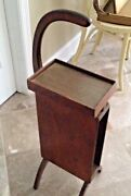 Antique Wood Wooden Telephone Stand Table With Space For Directory Or Books