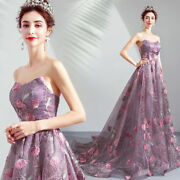 Sexy Purple Off Shoulder Embroidery Floral Long Dress Trailing Evening Prom D450