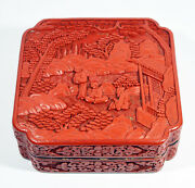 19x19x7 Cm Antique 19th Antique Chinese Qing Dynasty Lacquer Cinnabar Box Figure