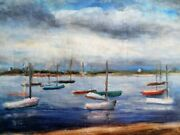 Original Oil Painting Boats And Men On Other Side William Stoddard Loughran
