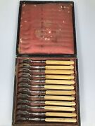 12 Hippolyte Thomas Sterling Oyster Forks In Orig Parisian Box French 1844-55