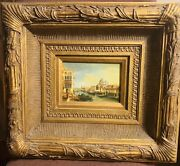 Fine Art Antique Oil On Panel - The Grand Canal Venice - Very Heavy Rococo Frame