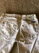 Preowned Miss Me Jeans Size 27x33-bootcut White Jp5417b3 Color Wt 01