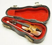 Miniature Violin And Bow With Black Case Red Lining Music Collectible Replica