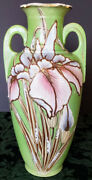 Imperial Kilns Royal Antique Nippon Hand Made And Painted Gold Gilded And039iris Vase