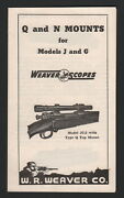 Weaver Scopes Brochure 1940and039s Q And N Mounts For J And G Models