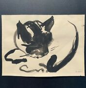 New York And Maine Artist Jo Levy Figural Drawing Of Recumbent Cat. Signed. 1953