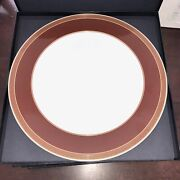 Set Of 6 Rosenthal Versace Medaillon Meandre Maroon Charger Plate 12 1/8 Nib