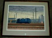 Nancy Mcintyre Signed Lithograph Of Train In Penn Central