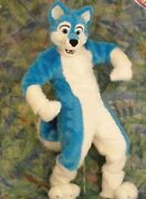 Blue Fox Long Hair Mascot Costume Animal Adults Outfit Fancy Dress Suit Parade