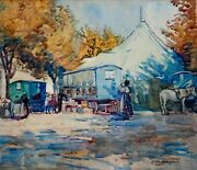 M. Harrison Signed Original Watercolor Painting Of People And Tent