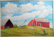 Original Watercolor Painting Of Farm And Farmer Artist Signed F. W. Hastings