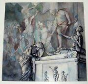 S. Gersbach Sign Original Watercolor Painting Titled A Tomb In Pisa Of Statue