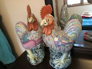 Pair Of Vintage Chinese Porcelain Chickens Figurine Antique Statues