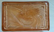 Vintage Glass Pink Bird Of Paradise Jewelry Candy Trinket Cigarette Box