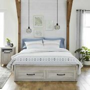 Rustic White Modern Farmhouse Queen Platform Bed Frame With Storage Drawers New