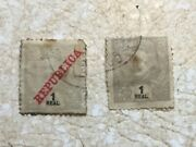 2 Rare Stamps India 1895 Republica India King Charles I 1 Real